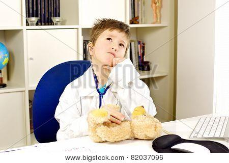 Kid Doctor Checking Up Bear Plush Serious