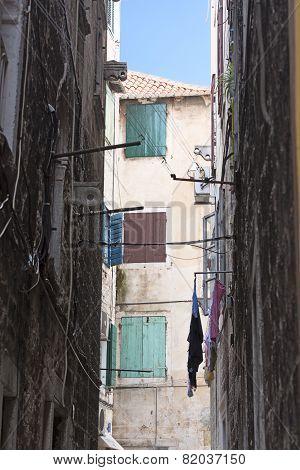 narrow street of the old town of Split, Croatia