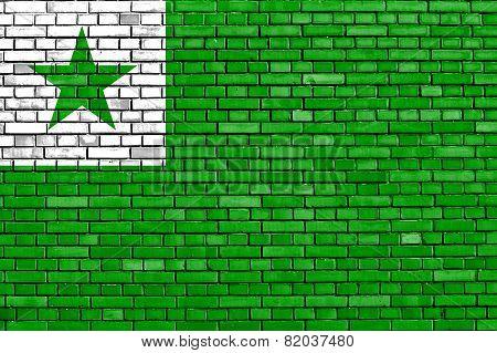 Flag Of Esperanto Painted On Brick Wall