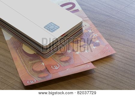 Batch Of Credit Or Debit Card On Euro Notes