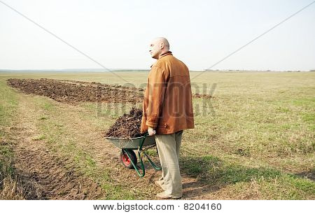 Working Man With Hand Cart