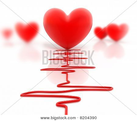 Red heart and cardiogram isolated on white
