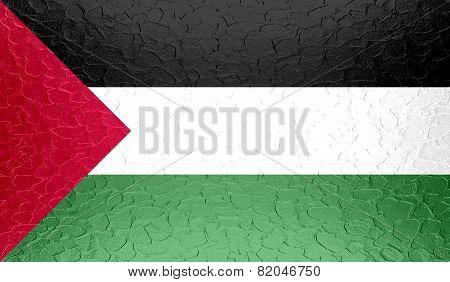 Palestine flag on metallic metal texture