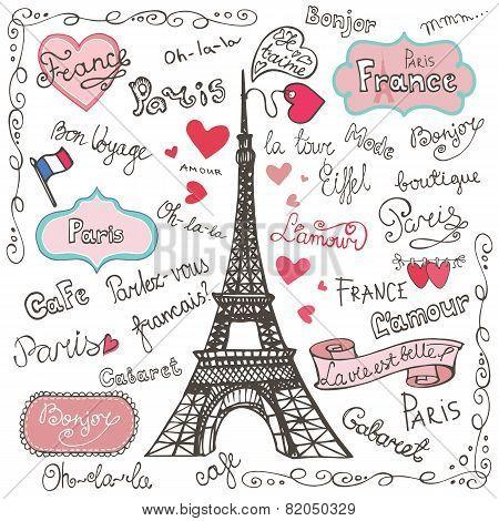 Set of Paris symbols,lettering.Hand drawn doodle sketchy