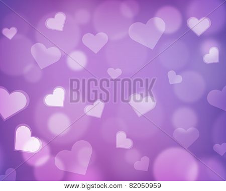 Blur background with love theme - hearts and light orbs - purple