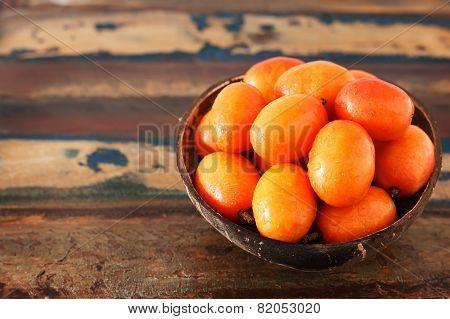 Fruit Jocote ( Siriguela, Red, Purple Mombin, Hog Plum, Ciruela Huesito, Sineguela) With Copy Space