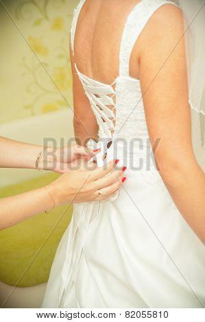 Closeup Of Lace Corset Wedding Dress.