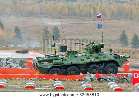 BTR-82A armoured personnel carrier in motion