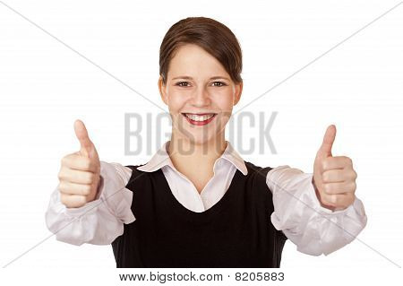 Casual young attractive businesswoman shows both thumbs up.