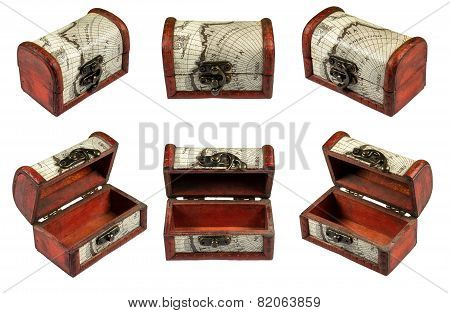Set With Vintage Coffer Isolated On A White