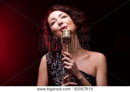 Beautiful Girl Singer Singing Retro Microphone