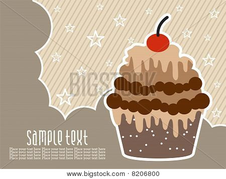 This image is a illustration of abstract birthday background with cake poster
