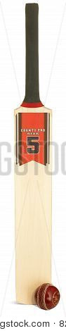 Cricket Bat And Ball On A White Background