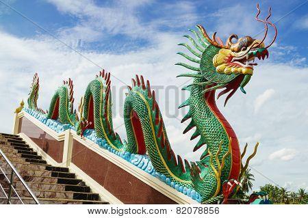 Dragon Sculpture On Staircase Rail