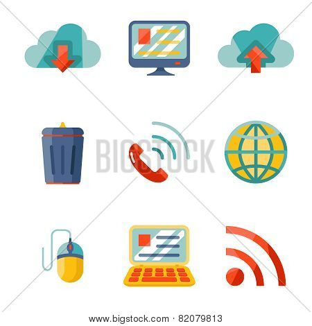 Modern flat design Internet network communication mobile devices icons set
