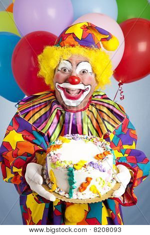 Crazy Clown With Birthday Cake