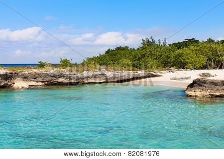 view at beautiful and rocky smith cove beach at grand cayman island poster