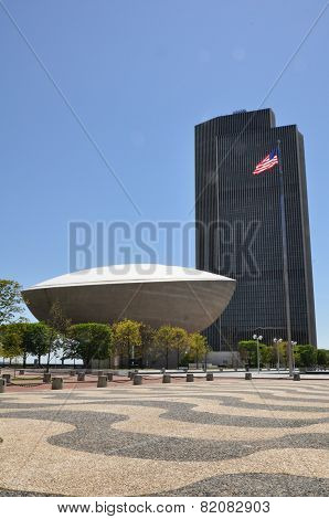 The Egg and the Erastus Corning Tower in Albany