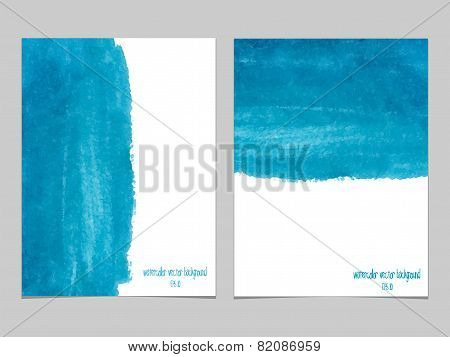 Vector Background With Watercolor Blue.