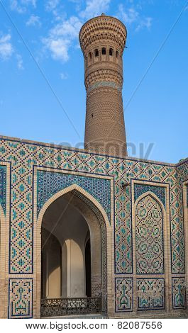 Mir-i Arab Madrasah Mosque Kalon and Kalyan minaret Historic centre of Bukhara Uzbekistan