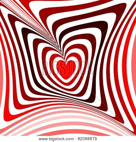 Design heart twisting movement illusion background. Abstract strip torsion backdrop. Vector-art illustration. No gradient poster