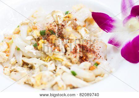 Closeup Fried Noodle With Pork