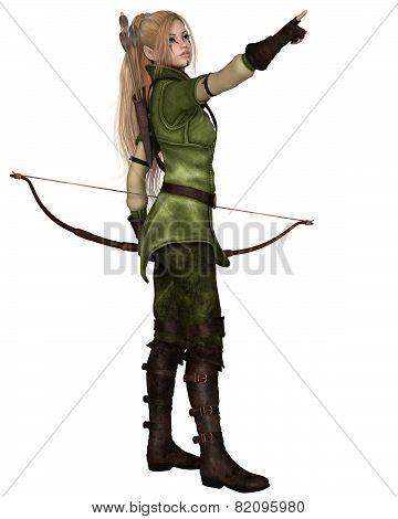 Blonde Female Elf Archer, Pointing