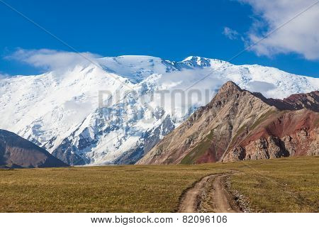 Leinin peak view from Base camp 1 Pamir mountains Kyrgyzstan
