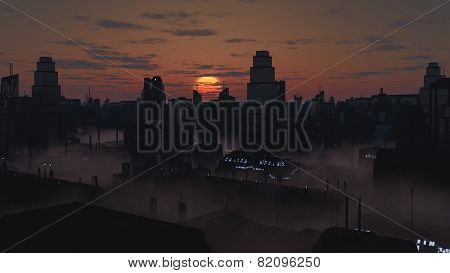Future City in Misty Sunset