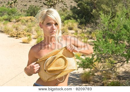 A blond woman hides her breasts with her cowboy hat. poster