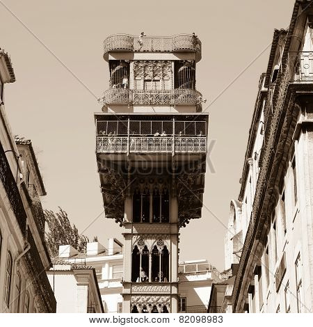 The famous Santa Justa elevator in Lisbon Portugal poster