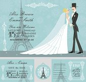 Winter wedding design template set.Rero bride and groom on Falling snowflake background.Winter wedding invitation set.Bride,groom,snowflake,Eiffel tower,Paris street.Wedding invitation,save date,RSVP card,tag. Vector poster