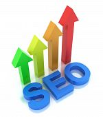 SEO - Search Engine Optimization is growing 3D concept isolated on white poster