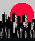 city skyline with a big red moon behind poster