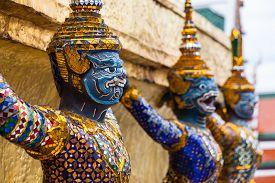 Garuda statues in the Grand Palace. Temple of the Emerald Buddha. Wat Pra-keaw Bangkok, Thailand.