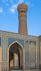 Mir-i Arab Madrasah Mosque Kalon and Kalyan minaret Historic centre of Bukhara Uzbekistan