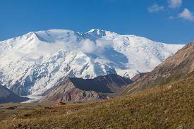 Leinin peak view from Base camp 1 Pamir mountains Kyrgyzstan