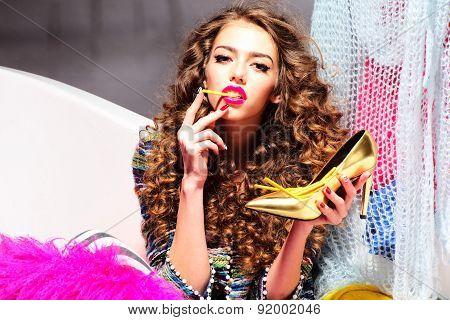 Sensual Inimitable Woman Eating Sticks