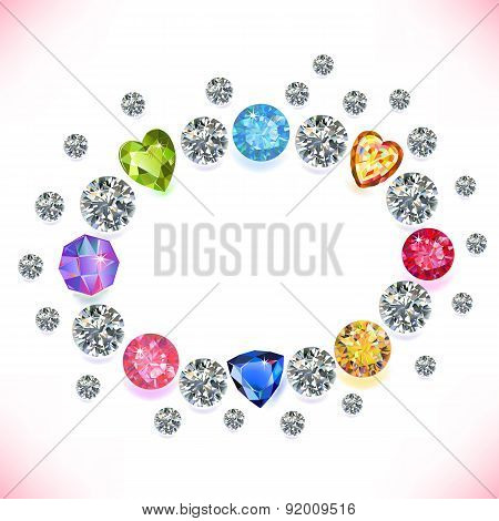 Colored Gems Oval Frame Isolated On White Background