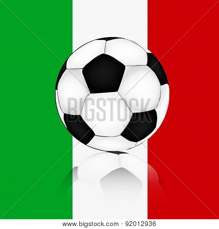 Soccer Ball Background Of The Flag Of Italy