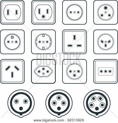 Monochrome Color Contour Home Industrial Power Socket Types Icon Collection.