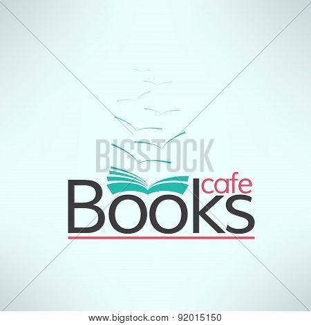 Vector books cafe logo in modern flat design. Book shop banner. Cool reading background