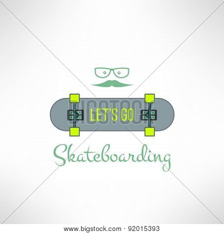 Vector skateboard background with hipster glasses and moustache in modern flat design. Skate board e