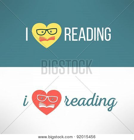 Vector love reading banner with heart and book in modern flat design. Hipster education and literatu