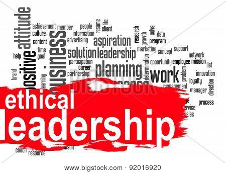 Ethical Leadership Word Cloud With Red Banner