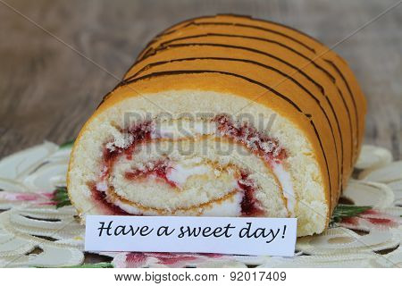 Have a sweet day card with strawberry Swiss roll