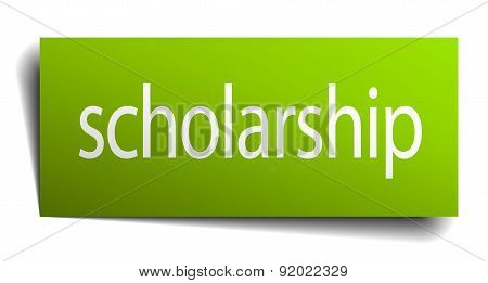 Scholarship Square Paper Sign Isolated On White