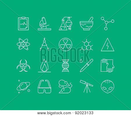 Bio Technology Elements Line Icons Set
