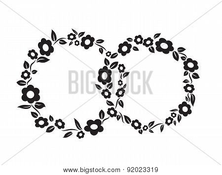 Black and white vintage Flower interlinked rings frame decoration vector illustration