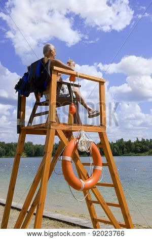 Kiev, Ukraine 2015, May 1: Safety On The Water - Lifeguard Station On The Beach